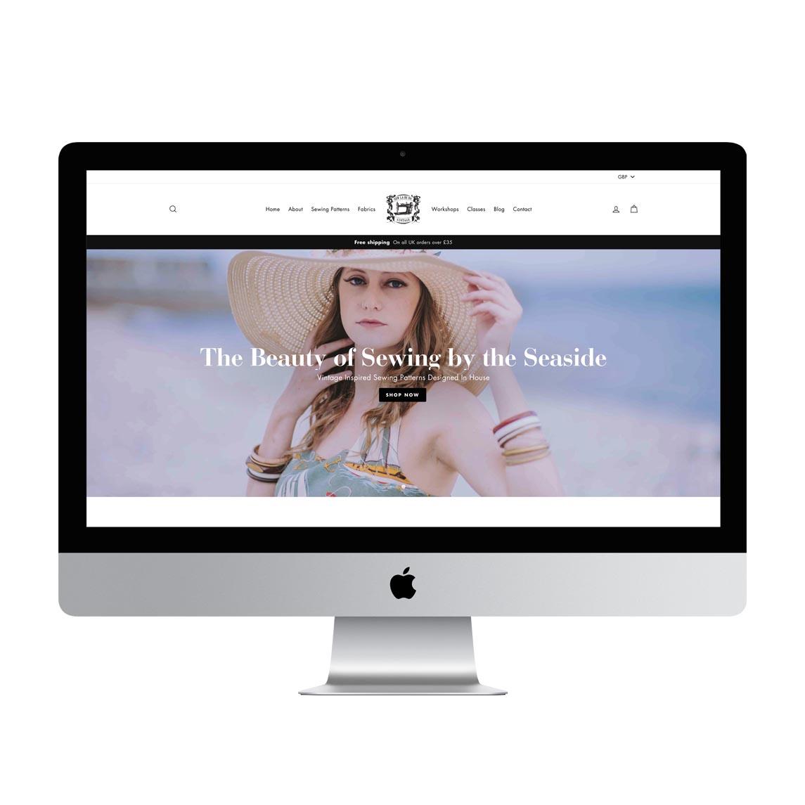 Sew La Di Da Vintage website screenshot, designed and built by Beue Media.